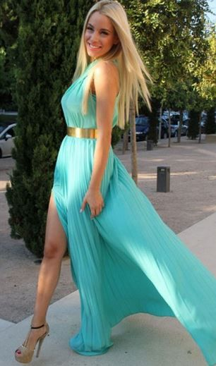 So Cute! Would love this Dress for the Beach! Turquoise Blue  Pleated Cross Halter High-Slit Sleeveless Chiffon Beach Dress