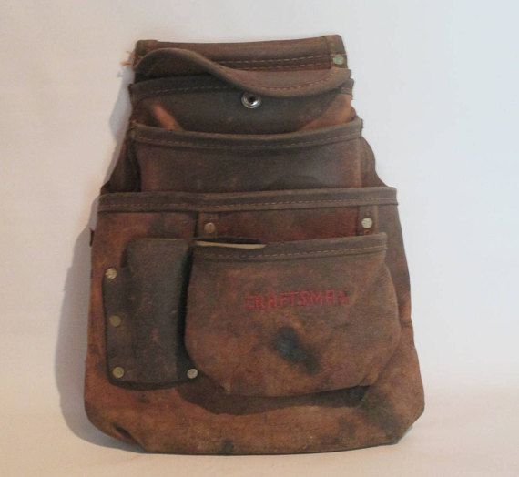 Craftsman Tool Belt Pouch Vintage Leather Used Wall Garden