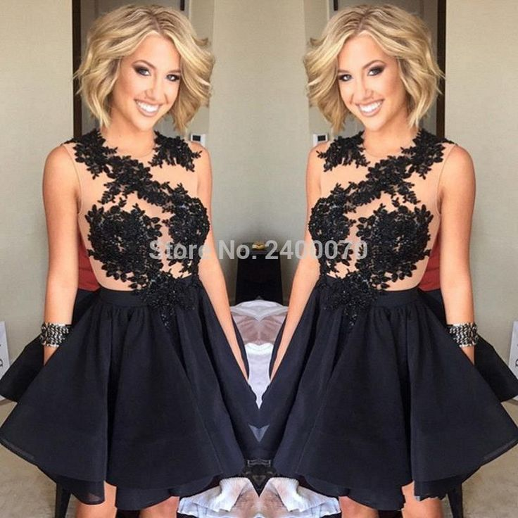 Find More Cocktail Dresses Information about 2016 Crew Neck Black Lace Applique Cocktail Dresses Sleeveless Formal Party Dresses Custom Made Short Homecoming Dresses,High Quality dress class,China dress birthday Suppliers, Cheap dress formal dress from CDDRESSES Store on Aliexpress.com