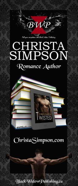 Design vertical banner for Author Christa Simpson.   30x72 VistaPrint Banner_Large_V[1]