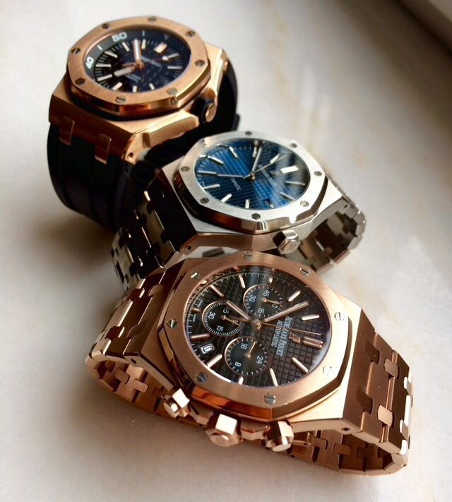 Audemars Piguet Royal Oak Offshore Diver, Royal Oak 15400 & Royal Oak Chronograph Pink Gold
