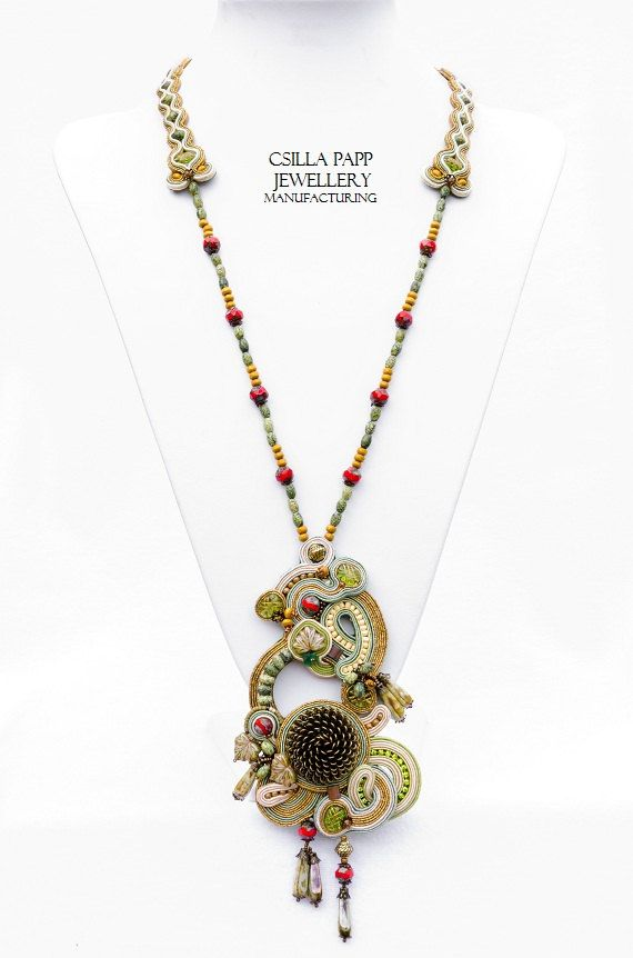 OOAK Hand Embroidered Soutache Necklace by CsillaPappJewellery