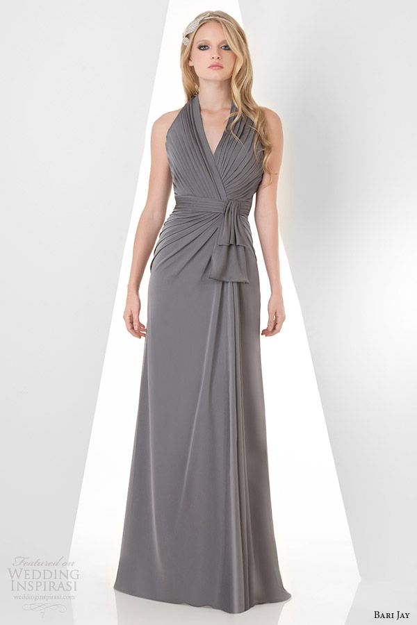 Bari Jay Sleeveless Halter Bridesmaids Dress Style 869 Charcoal Gray