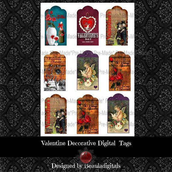Valentine Decorative Digitals Tags   Instant by Beauladigitals