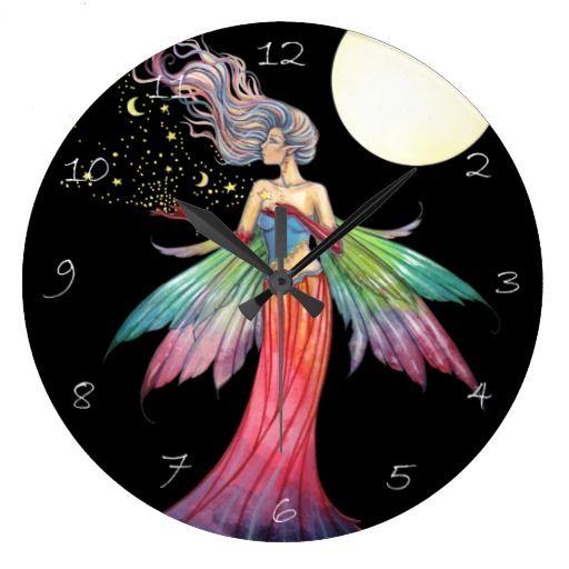 Star Gatherer Fantasy Fairy Art Clock