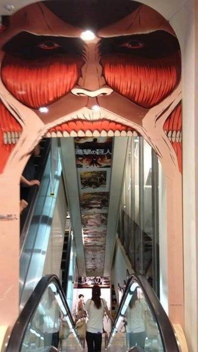 Would You be Brave Enough to Ride This Escalator?.... HELL YEAH! IF IT MEANT I WOULD SEE ALL THINGS ATTACK ON TITAN!