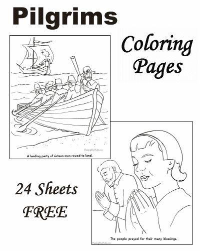 Coloring pages of Pilgrim history for young children