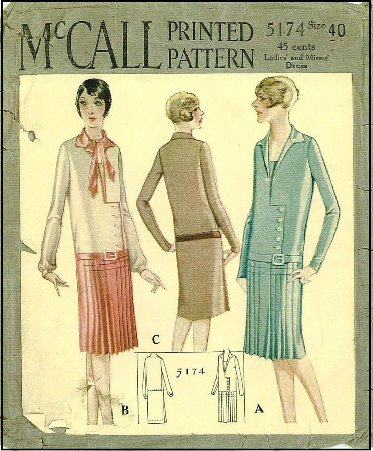 1920s Ladies Frock Sewing Pattern - McCall 5174