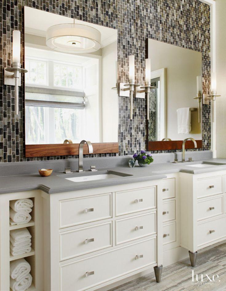 Contemporary Neutral Bathroom with Limestone Countertop ...