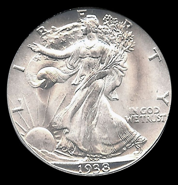 1938-D Half Dollar. Walking Liberties were minted from 1916 to 1947. The coin is named after its representation of Liberty on the obverse. Walking Liberty half dollars are the second most popular silver coins turned out by the U.S. Mint. (Morgan Silver Dollars are undoubtedly number one). The Walking Liberty coin depicts Lady Liberty with an American flag draped around her body, walking towards a sun with rays; the reverse features an eagle perched on a rock.  Origin: USA | Date: 1938-D.