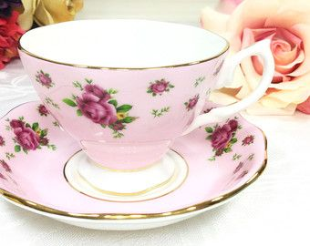 Royal Albert New Country Roses Pink Floral Chintz Tea Cup & Saucer Teaset 4Tea Party, Shower, Wedding, Party Favor #984