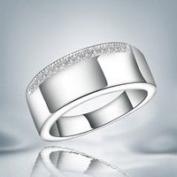 Wish | Simple High-grade 925 Sterling Silver Zircon Rhinestone Band Ring Gifts size 7/8