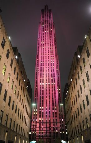 Rockefeller Center, illuminated for Breast Cancer Awareness.