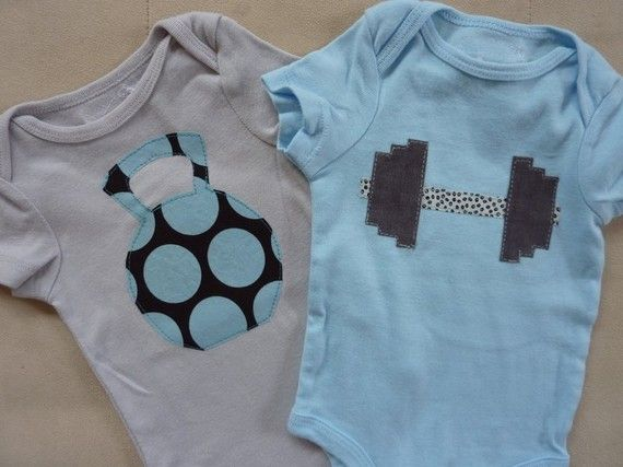so cute!  Crossfit or kettlebell WOD applique on onesie for baby gift (from ThisPretty on etsy)