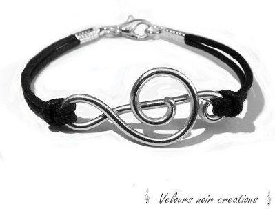 bracciale con nota musicale chiave di violino creata a mano wire unisex