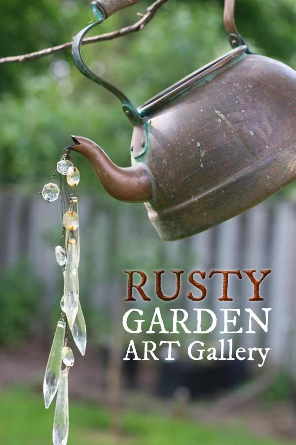 Rusty garden art ideas including orbs, bee skep, kettle, old tool creatures at empressofdirt.net