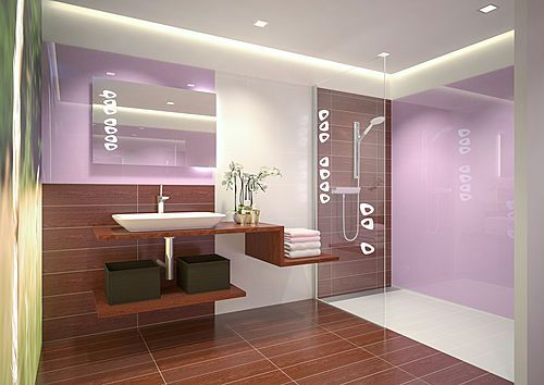 A new generation of illuminated LED shower screens. Demonstration at exhibition Idéobain in Paris, Hall 4 C36 - ArchiExpo