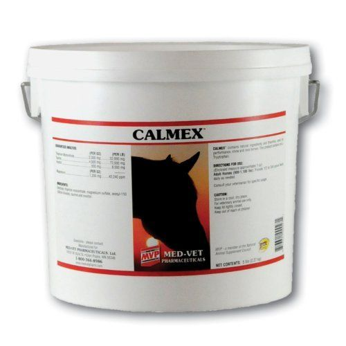 CALMEX - 5 LB by Med Vet Pharmaceuticals. $60.95. Calmex is a homeopathic product, containing Taurine, Valerian Root, Thiamine and Magnesium and is used as a supplemental aid in performance, show and race horses.  All-natural ingredients that support a healthy nervous system.  The product contains no L-tryptophan.  Excellent for competition, training and trailering.  (*Check competition rulings regarding usage of valerian root.)  Will not cause drowsiness.  Fee...