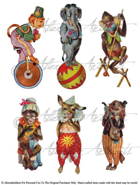 Instand Download Circus Parde Anamal Acts Clowns for your Puppet Theater Digital Collage Sheet Vintage Clip Art Scraps