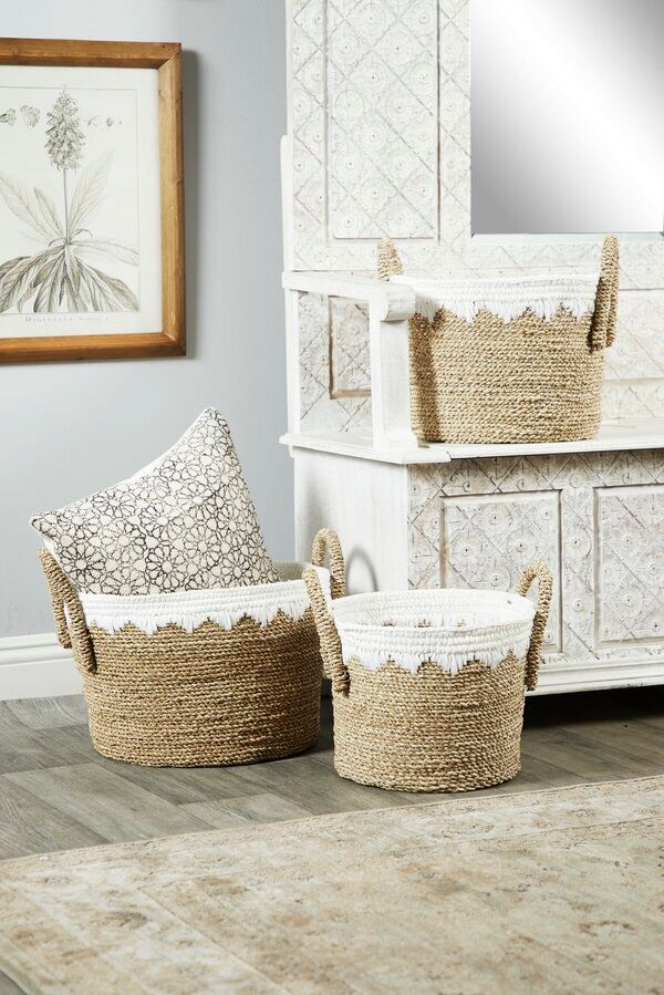 Round 3 Piece Wicker Rattan Basket Set In 2020 Rattan Basket Large Storage Baskets Storage Baskets #storage #baskets #living #room