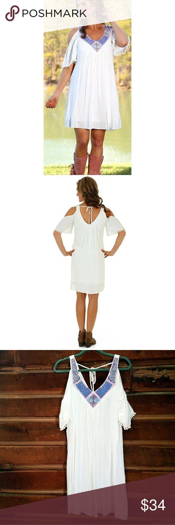 Applique Cold Shoulder Half Sleeve Dress *NWT V-neck w/ intricate applique along neckline  Pom pom trim on sleeves Tie- close at the back of the neckline Wrangler Dresses