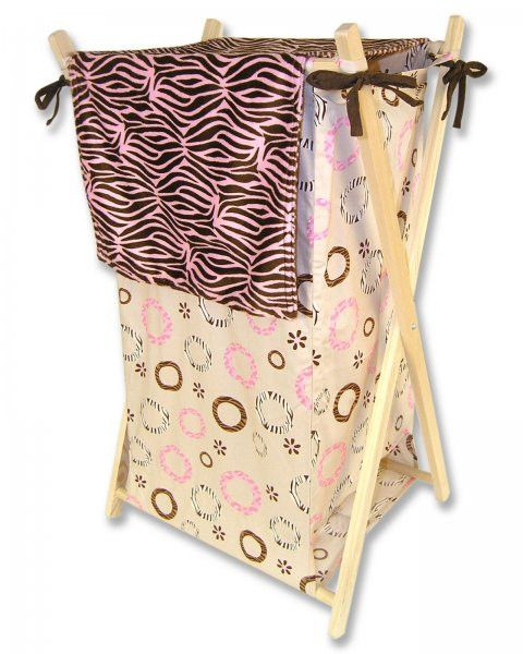 "Sweet Safari Pink Kids Hamper (Pink/Tan/Brown) (27""H x 15""W x 2""D)"