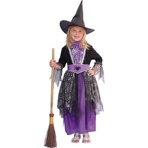 Heksen kostuum zwart/paars kinderen. Dit heksen kostuum voor kinderen is een jurk met de opdruk van spinnenwebben. Op de ceintuur zit een afbeelding van een spin. Dit heksen kostuum is exclusief de hoed en bezem.