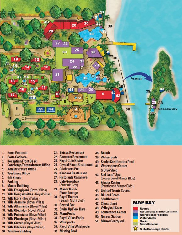 Map Layout Sandals Royal Bahamian – Nassau Bahamas Tourist Map