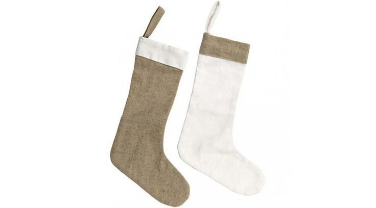 Karácsonyi vászon zokni - Dekorációs kiegészítők - Gombolda Webáruház