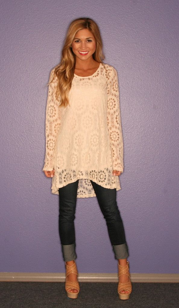 I love the lace and drape of this tunic over skinny jeans or leggings.