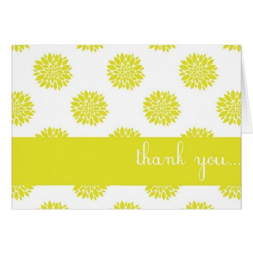 Yellow Chrysanthemum Floral Custom Thank You Card