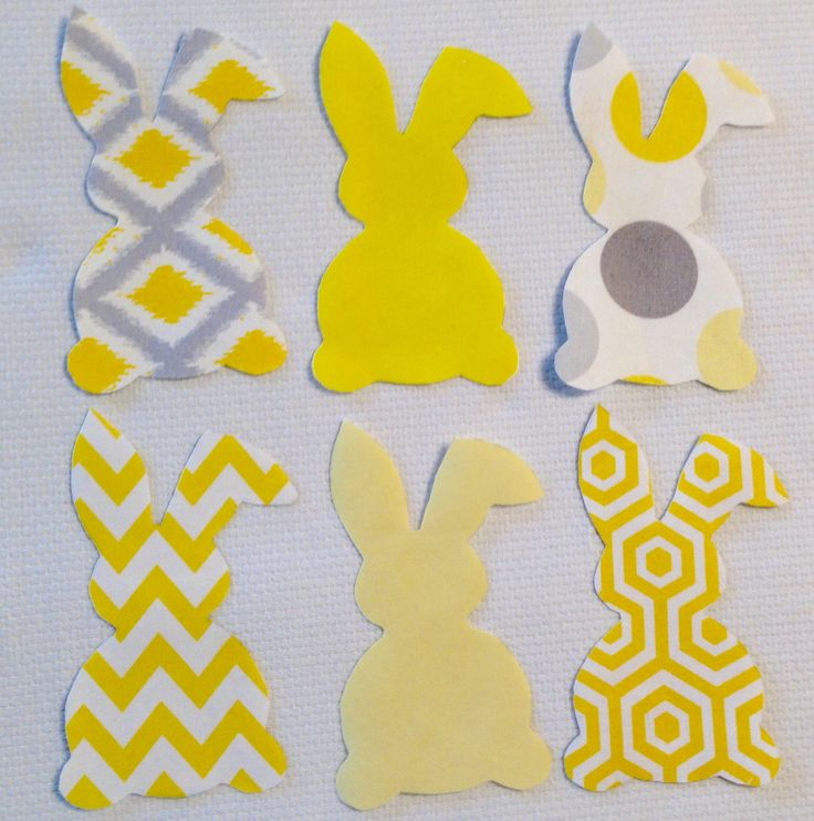 Yellow Easter Bunny Embellishments  Appliqué, Fusible, Iron On, No Sew, Quilt Appliqués,  Scrapbooking, Craft Supplies, Decoupage, Crafting by TMStreasures on Etsy