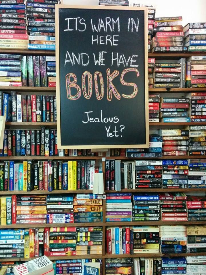 It's warm and we have books. Arlie's Books, Smiths Falls, ONT, Canada
