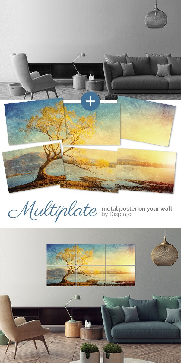 """Golden Landscape"" as a Multiplate. Large size metal artwork to make your home cosy and sweet. Click through to see more similar posters on metal! #multiplate"
