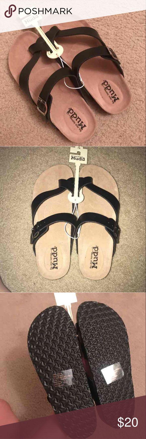 Black Birkenstocks Mudd jesus sandals that resemble Birkenstocks. NEW have never been used. Originally $30   Tags: Victoria secret,mudd, Birkenstock, neverfull, pink, sandals, neverfull, Levi's, James Avery Shoes Sandals