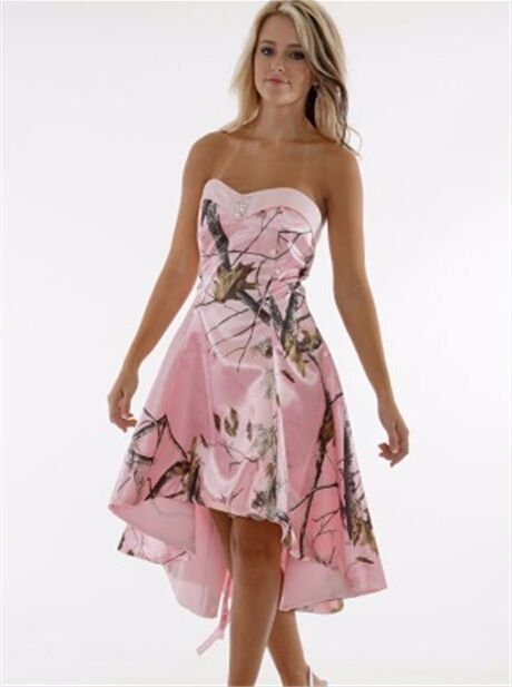 Custom Made Pink Camo Wedding Dress A Line High Low Satin Corset Camouflage Bridal Gowns Vestidos de Novia