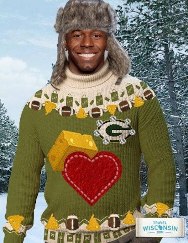 Donald Driver Day Travel Wisconsin (ad).  I have no words for how awesome that sweater is.