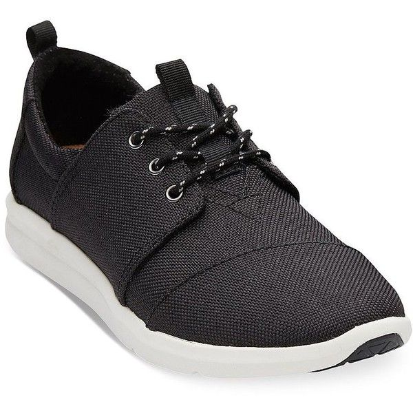 Toms Women's Delraysn Lace Up Sneakers ($79) ❤ liked on Polyvore featuring shoes, sneakers, black, black laced shoes, black rubber sole shoes, toms sneakers, laced sneakers and toms footwear