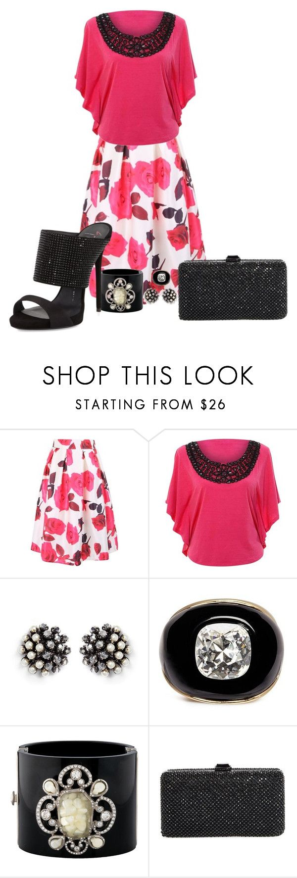 """""""On the Town"""" by angiemine213 ❤ liked on Polyvore featuring WithChic, Miriam Haskell, Kenneth Jay Lane, Chanel, Sondra Roberts and Giuseppe Zanotti"""