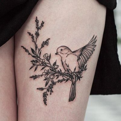 Cute Bird Tattoo By Olga Nekrasova