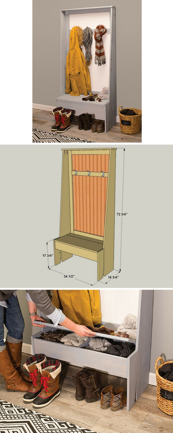Add some rustic style to any entryway with this easy-to-build organizer. It offers hooks, a seat, and a shallow storage compartment. All you have to do is make some cuts in off-the-shelf pine boards and a sheet of beadboard paneling. Even the subtle tapered cuts are easy using a jigsaw.