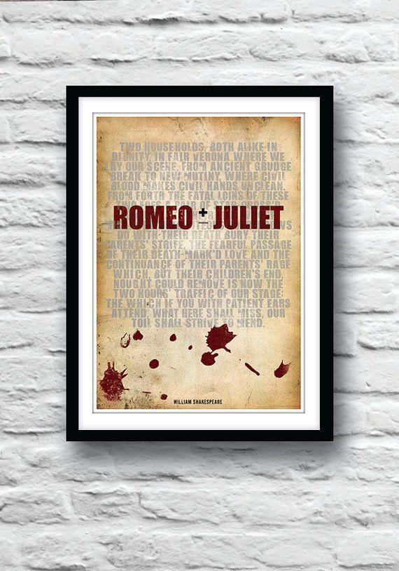 ROMEO und Julia, Shakespeare zu drucken, Zitat Poster, Typografie-Poster, Shakespeare Kunst, Wand Dekor, Romeo und Julia-Kunst