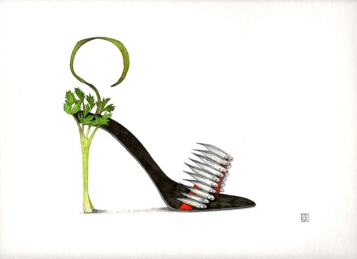 sardines and celery shoe. By Sena Cifuentes