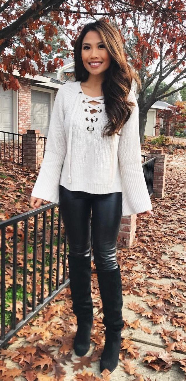 c78fab13c5a  winter  outfits women s white corduroy long-sleeved shirt and black pants.  Click To Shop This Look.