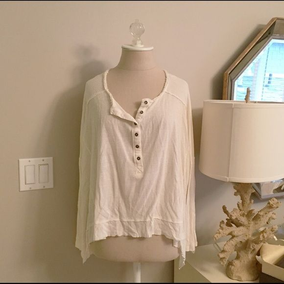 Free People Waffle Shirt Super loose and soft waffle shirts. Nice and light weight. Perfect for the winter! Free People Tops Tees - Long Sleeve
