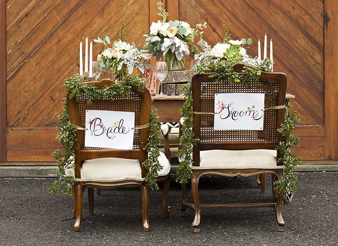 Rustic Romantic Wedding Inspiration. Great seating ideas for the bride and groom. #bride #groom #wedding #seats