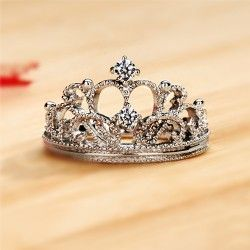 Exquisite Princess Crown Cubic Zirconia 925 Sterling Silver Wedding Ring Engagem   How Do It