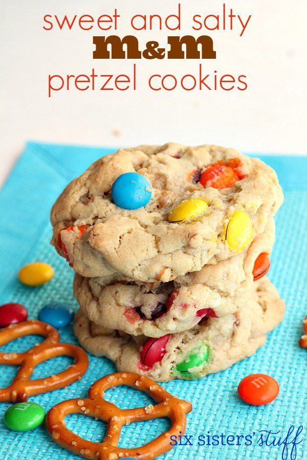 Sweet and Salty M&M Pretzel Cookies on SixSistersStuff.com