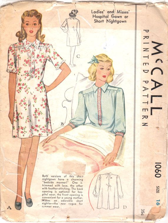 McCall 1060 1940s Misses Tie in Back Hospital Gown by mbchills