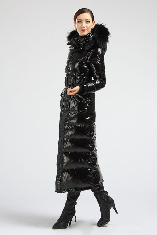 Details about Chic Shiny Black Down Filled Long Coat Raccoon Fur ... : quilted long down coat - Adamdwight.com